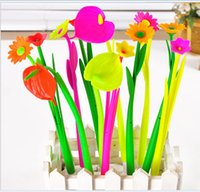 Wholesale Creative office stationery cute simulation plants flowers soft silicone neutral ballpoint