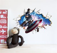 baby posters - Avengers D Through Wall Stickers Decals Art for Baby Nursery Home Decoration Captain America Wall Paper Kids Cartoon Poster Wall Stickers