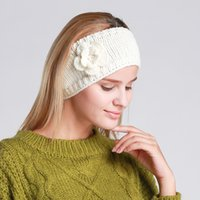 Wholesale Women Lady Crochet flower Knot Turban Knitted Head Wrap Hairband Winter Ear Warmer Headband Hair Band Accessories
