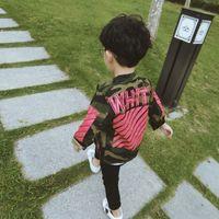 Wholesale 2016 children s jackets Hitz Korean Children Boys Striped camouflage coat letters