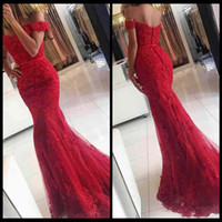 african style art - New Style Red Lace Mermaid Prom Dresses veatidos off Shoulder Beaded Appliques Tulle Full Length Long African Evening Gowns Formal Party Wea