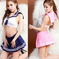 Wholesale sexy lingerie hot Seductive green sexy school uniform for girls crop top and mini skirt fantasias erotic sexy costumes QY013
