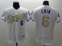 Wholesale 2016 new Kansas City Royals jersey Lorenzo Cain Majestic White World Series Champions Gold Program jerseys mix order drop shipping
