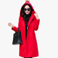 Wholesale M XL New Korea Hooded Blended Woolen Jacket Women Autumn Winter Long Wide waisted Loose Plus Size Cashmere Coar ZS755