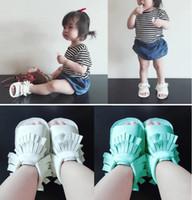 Wholesale 2016 tassel PU soft bottom newborn baby barefoot beach sandals CM CM CM children casual indoor walking toddler sandals Z