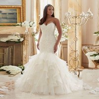 Wholesale White New Fashioned Crystal Beaded Gown Sweetheart Plus Size Organza Lace up Mermaid Wedding Dresses Ruffles