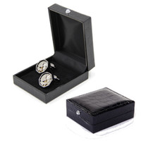 Wholesale Black Leather Gift Box Cufflinks Hot Selling Storage Case Jewelry Carrying Case Cuff Dispaly Holder for Men Male Christmas Gift