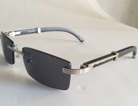 wood planks - High Quality Rectangle Rimless Glasses Men Women Vintage Brand Desiger Black Buffalo Sunglasses Wood Frame Black Clear Lens Gafas Lunettes