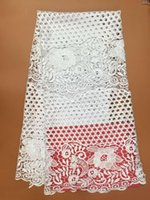 Wholesale A SL243 WHOLE YARDS High quality African Guipure Lace Ivory White Fabric For Sewing wedding African Swiss Cord Lace Fabric