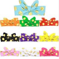 baby stamps - Baby Girls Bunny Ear headbands Bow newborn Kids Hot stamping Polka Dots Diy Headband Turbands Children baby boutique hair accessories KHA265