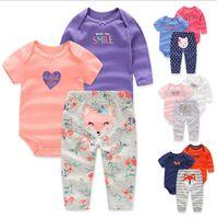baby sleep set - New Born Baby Cartoon Pattern Long Sleeve Short Sleeve Pants sets Autumn Dress Kids Sleeping Romper Child Jumper