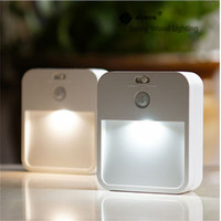 Wholesale 0 W LED PIR and light sensor stair lamp wireless battery or recharging model M fixing night lamp wall cabinet passway lamp