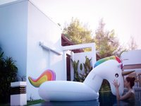 Wholesale 275cm white Giant unicorn Inflatable Flamingo Ride On Pool Toy Float inflatable swan Swim Ring Holiday Water Fun Pool floating row