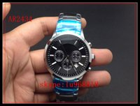 Wholesale TOP QUALITY BEST PRICE New Gent Chronograph Watch AR2432 AR2433 AR2434 AR2447 AR2448 AR2458 Men Stainless Steel Black Dial Wristwatch