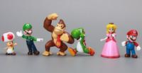 al por mayor pvc yoshi-Wholesale-100set / nuevo Super Mario Bros 18 piezas de PVC Figura Topper NDS Super Mario Luigi Peach Yoshi