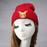 animal skull masks - 2016 New Thick Pikachu Cartoon Plush Animal hats for women sweater knitting Beanie elasticity gorro female mask skull