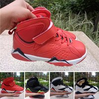 basketball loop - 2016 New Kids VII Retro Basketball Shoes Athletic Black Red Colors Sports Shoes for Boys Girls Retros Snakers Shoes With Boxes