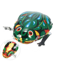 Wholesale Vintage Metal Wind up Jumping for Frog Model Clockwork Tin Collectible Classic Education Toys Gift Children Sports Toy Kids Toy