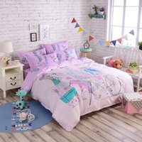 Wholesale modern gorl new cotton cartoon bedding set three pieces for full size four pieces for queen size machine wash good color fastness