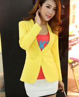 Wholesale high quality New Spring Autumn Candy Color Jacket Long Sleeve Slim Suit One Button Women Jacket