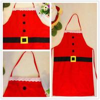Wholesale 2016 Hot Sale Red Satan Claus Design Aprons Xmas Family Kitchen Textiles Pinafores Christmas Celebration Supplies Adult Children Styles