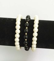 african jet - New rows pearls acrylic beaded stretchable chain bracelet mm set jet smooth acrylic beads and white pearls with white link chain