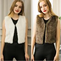 Wholesale Stylish European Ladies Women Casual Short Faux Fur Vest Outwear Autumn Winter Sleeveless V neck Faux Fur Waistcoat Gilet Coat Vest