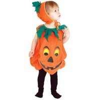 Wholesale Amazing to years old Children Halloween Costume Kids Pumpkin Outfit Clothes for Halloween Party Jumpsuits Hat