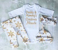 baby snow hats - NWT INS Baby girl toddler Christmas outfits piece set Bronzing Gold Golden romper onesies diaper cover legging pants hats Snow printing