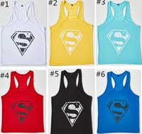 Wholesale 300pcs Colors Superman Gym Singlets Mens Tank Tops Shirt Bodybuilding Equipment Fitness Men s Golds Gym Tank Top Sports Clothes