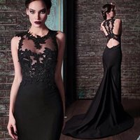 Wholesale Jewel Neck Lace Satin Mermaid Evening Dress Black New Sheer Back Long Evening Gowns Custom Made