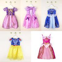 aurora dresses - 2016 New Girls Cinderella Dresses Children Snow White Princess Dresses Rapunzel Aurora Kids Party Costume Clothes