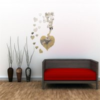 best decorated bedrooms - Modern Fairy And Heart Acrylic Mirror Wall Clock for Bedroom Wall Sticker DIY Home Decorate Best Promotion