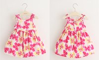 Wholesale 2016 Lovely Girls Summer Dresses Cotton Dress with Floral Print Baby Clothes
