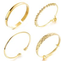 Wholesale Mix Order Hot Selling K Real Gold Plated Bangles Bridal Jewelry To Bride Different Kinds