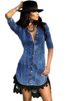 bell trim - New Summer Sexy V Neck Denim Dress Slim Short Sleeve Lace Trim Button Down Denim Dresses Women S22439 Vestido De Renda