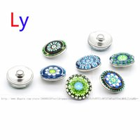 Cheap New Arrival 18mm Cabochon Glass Stone Buttons Lotus Flower Ginger Snap Buttons for Noosa Snaps Bracelet Necklace Ring Earring YD0074