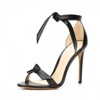 ladies fashion shoes - Simple Style Ankle Strap Bowknot Sandal Women Ladies Shoes Hollow Out Stilettos High Heels sandalias salto alto OL Woman Sandals