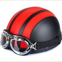 Wholesale PU Leather Motorcycle Helmets Bike Bicycle Helmets Retro Vintage Style Open Half Face With UV Visor Goggles For Men And Women
