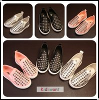 Wholesale 2016 Hot Rivet Shoes For Kids New Fashion Children s Casual Shoes Baby Girl Designer Leisure Shoes For Kid Boy Black Silver Pink KW SH059