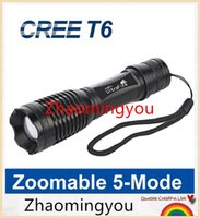 Wholesale HONG YON Ultra Bright CREE T6 LED Flashlight Torch Light Zoomable Modes lampe torche Flash Light Waterproof antorcha penlight E6