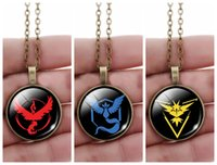 antique christmas gifts - Anime Poke GO Cos Team Valor Instinct Mystic Pendant Necklaces Antique Bronze Round Gemstone Cabochon Jewelry Novelty Christmas Gift