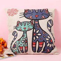 Wholesale 1pc Cartoon Cats Pillow Cover Cushion Cover Linen Lovely Cat Print Sofa Decor Cushion Cover pillowcase