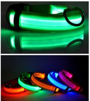 beeper dog collars - Flashing LED Dog Collar For Pet Christmas Glowing Plain Nylon Luminous Specialized Dog Collar Decorative Dog Beeper Collar JF