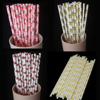 baby shower fruit - Retro Fruit Paper Straws Strawberry Watermelon Pineapple Lemon Printed Party Straw for Birthday Baby Shower