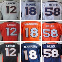 Wholesale 100 Stitched Von Miller Emmanuel Sanders Paxton Lynch peyton manning DeMarcus Ware white orange blue cheap Elite jerseys