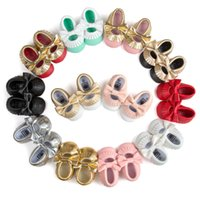 Wholesale Newborn Baby Shoes First Walkers Infant Toddler PU Leather Fringe Bow Baby Girls Moccasins Soft Moccs Shoes Footwear A9513