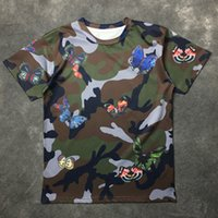 Wholesale Shirts Butterfly Sleeves - HONO Li new fashion butterfly military camouflage prints of men and women short sleeve T-shirt