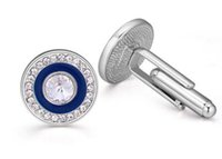Wholesale high end jewelry classic round cufflinks with diamonds cheap cuff link for men mix order