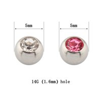 belly parts - Balls crystal clear rose DIY Parts Plug Labret Lip piercing belly button ring Body jewelry nipple